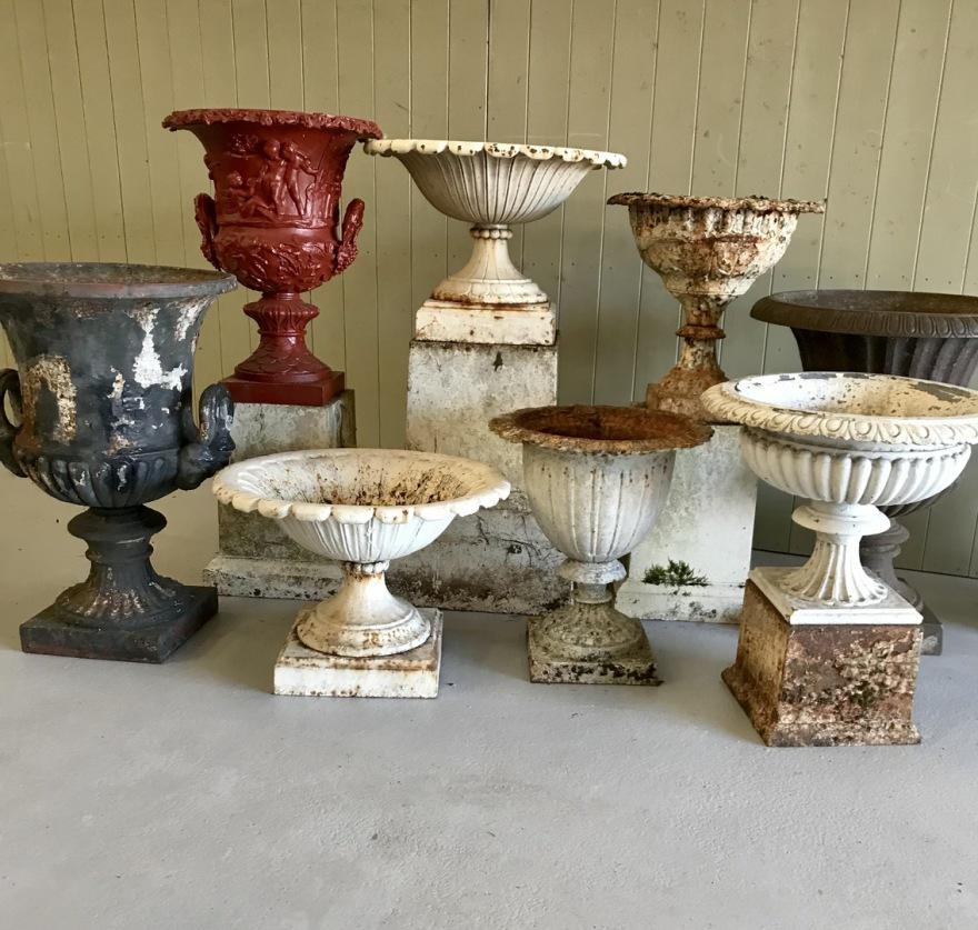 Antique Cast Iron Urns